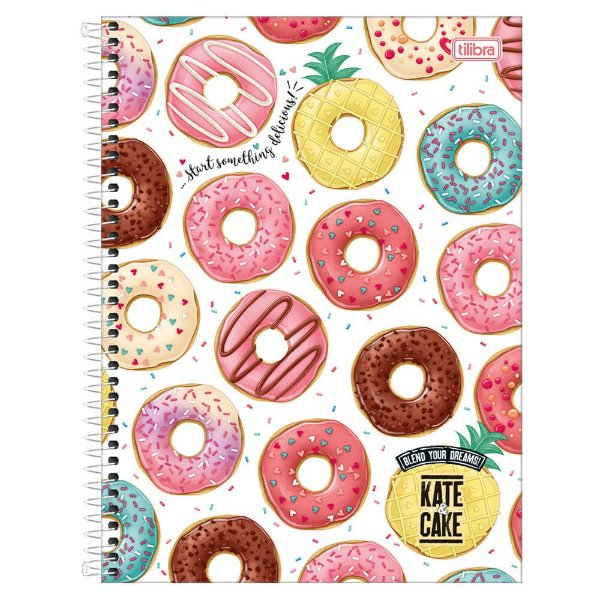 Caderno Kate & Cake - Donuts - 10 matérias - Tilibra