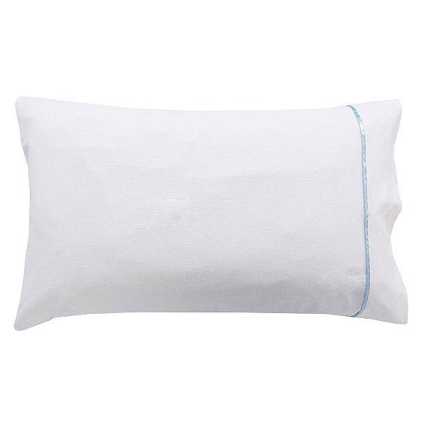 Fronha Para Travesseiro Pós Berço - Branca/Azul- Lavive