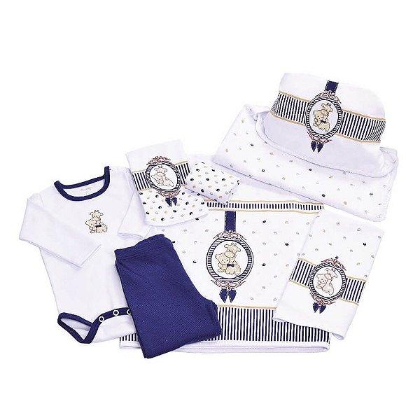 Kit de Presente para bebê - Camafeu Azul - 7 Peças - Colibri