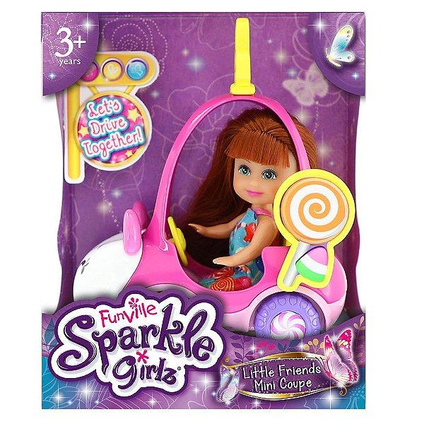 Boneca Sparkle Girlz Ruiva & Carro Mini Sparkles Ursinho - DTC