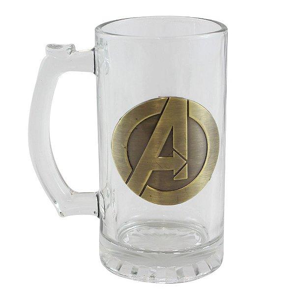 Caneca de Vidro 450ml Com Brasão - Avengers - Zona Criativa