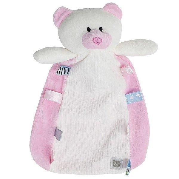 Naninha Com Carinha Ursinho Branco/Rosa - Zip Toys