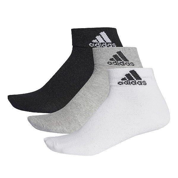 Kit Meia Ankle Mid Thin Masculina - 3 Pares - Preto/Cinza - Adidas