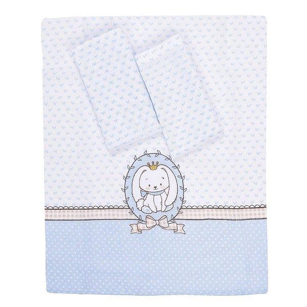 Kit Fraldas Baby - 3 Peças - Coelhinho Azul - Colibri