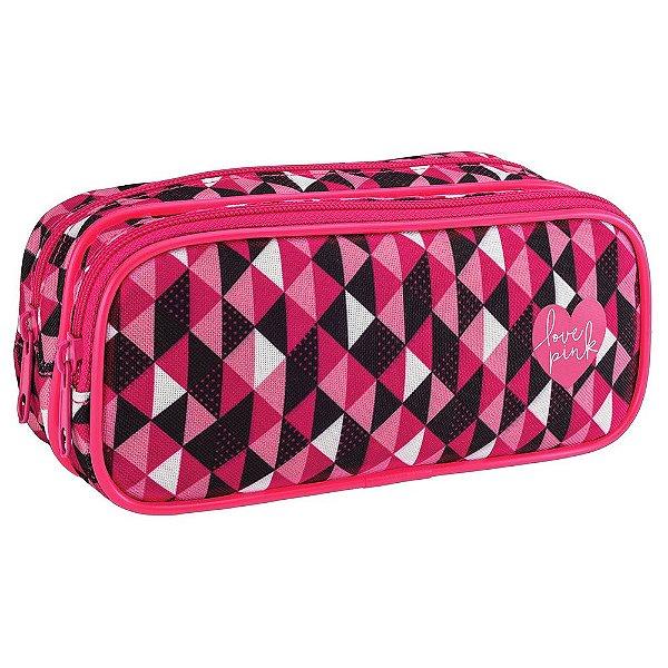 Estojo Duplo Love Pink - Preto e Rosa - Tilibra