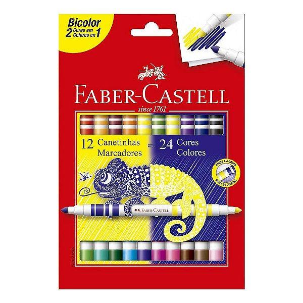 Canetinhas Bicolor - 24 Cores - Faber Castell