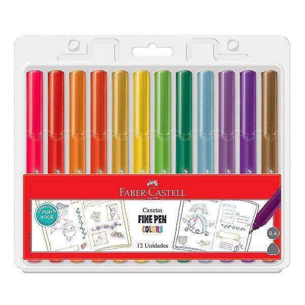 Canetas Fine Pen Color - 12 Cores - Faber Castell
