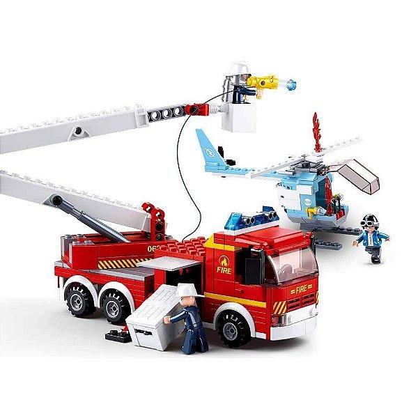 Blocos de Montar Fire - Caminhão de Bombeiros + Helicóptero - 394 Peças - Sluban