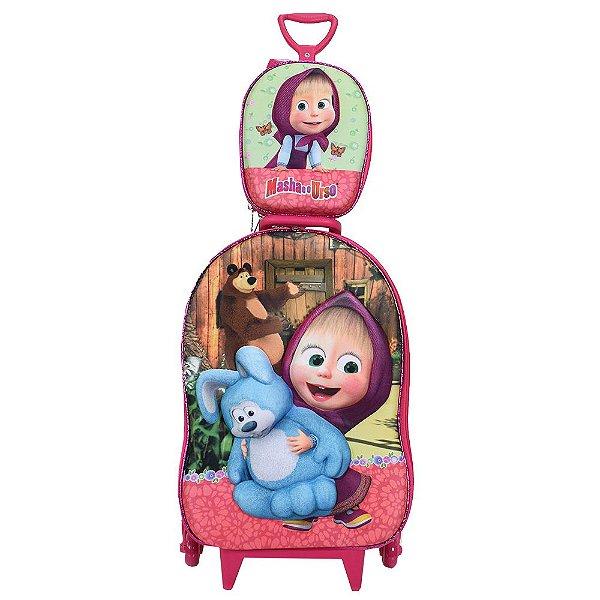 Kit Mochila Infantil 3D + Lancheira - Masha e o Urso - Diplomata