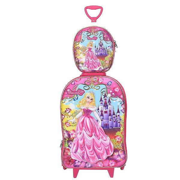 Kit Mochila Infantil 3D + Lancheira - Princesa Meg & Castelo - Diplomata