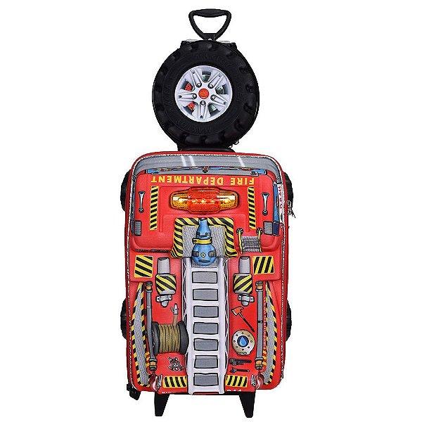 Kit Mochila Infantil 3D + Lancheira - Bombeiro Chrome Wheels - Diplomata