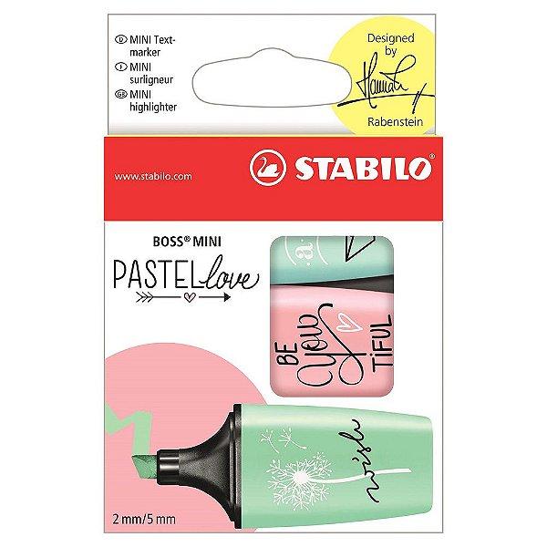 Conjunto de Marca Textos Pastel Love Boss Mini - Azul/Verde/Rosa - Stabilo