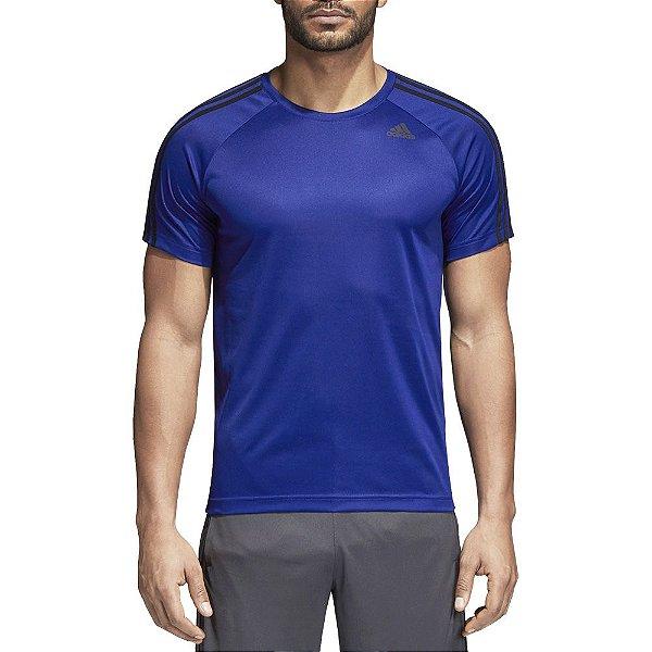 Camiseta Masculina D2M 3-Stripes - Azul - Adidas