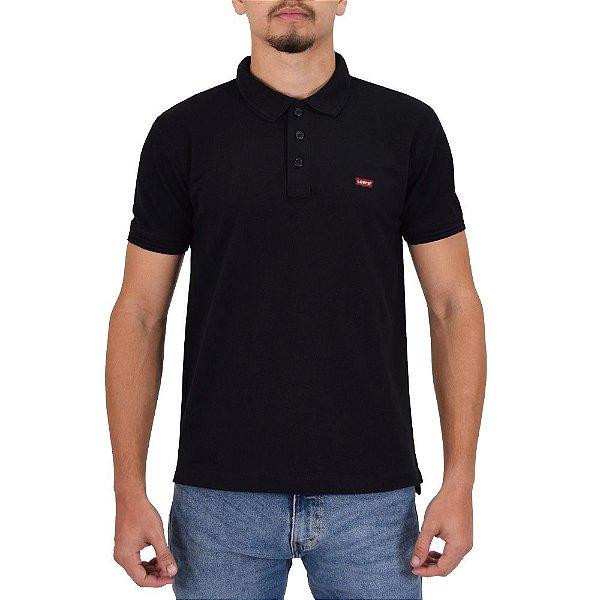 Camiseta Polo Masculina - Preta - Levis