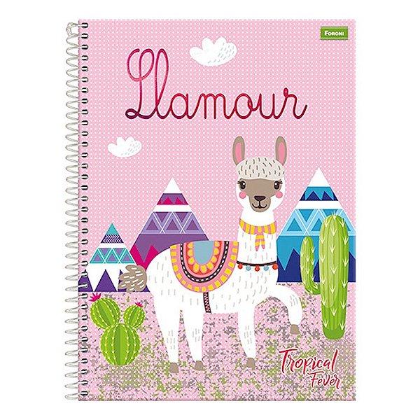 Caderno Tropical Fever - Lhamour - 1 Matéria - Foroni
