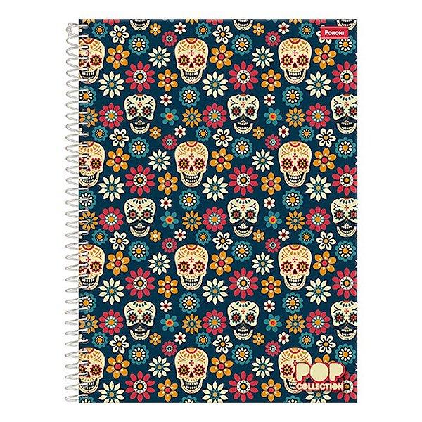 Caderno Pop Collection - Caveira Mexicana - 1 Matéria - Foroni