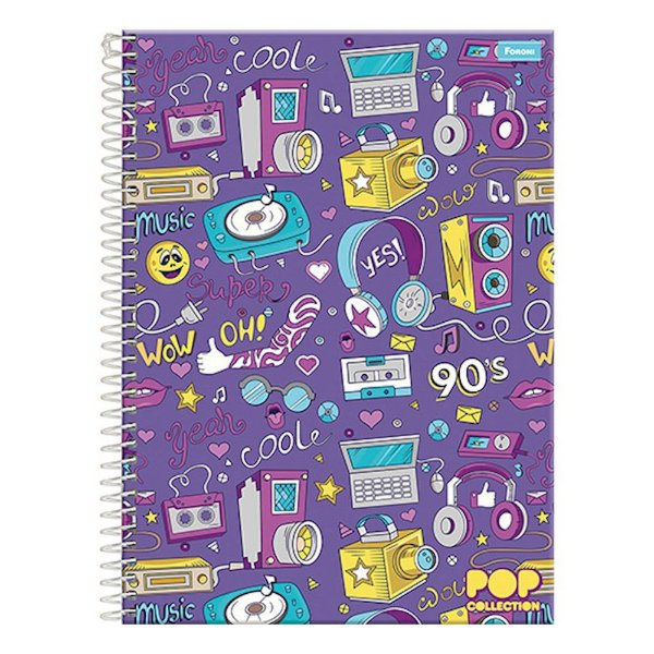 Caderno Pop Collection - Music 90's - 1 Matéria - Foroni