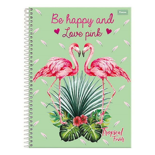 Caderno Tropical Fever - Flamingos - 15 Matérias - Foroni