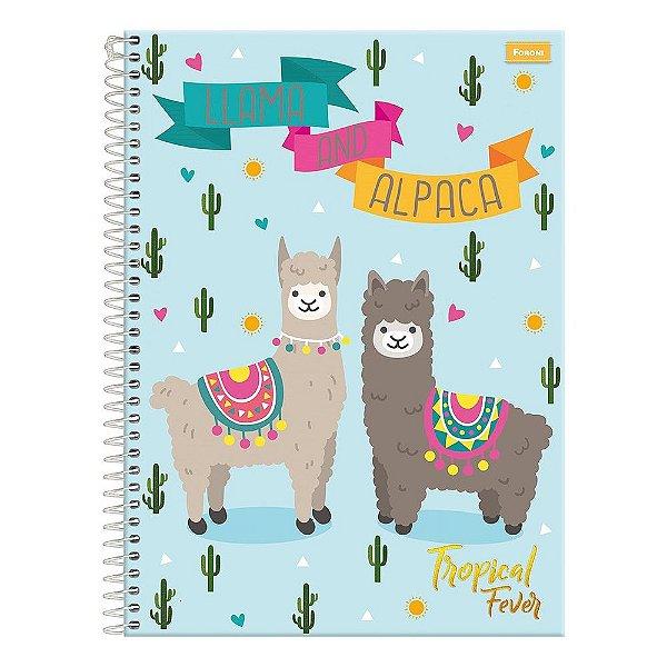 Caderno Tropical Fever - Lhama And Alpaca - 15 Matérias - Foroni