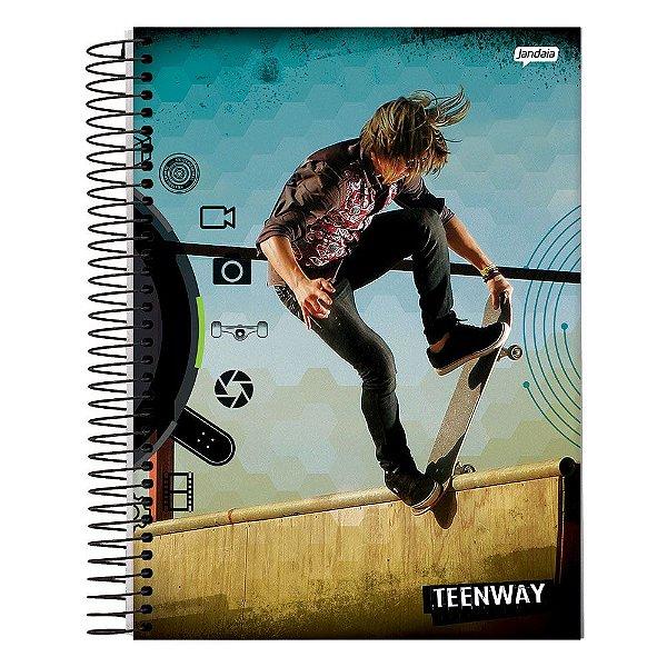 Caderno Teen Way - Azul - 1 Matéria - Jandaia