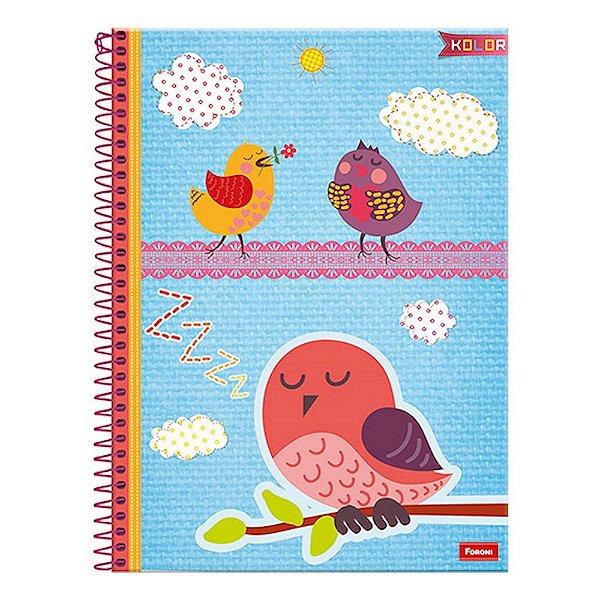 Caderno Kolor - Pássaros - 10 Matérias - Foroni