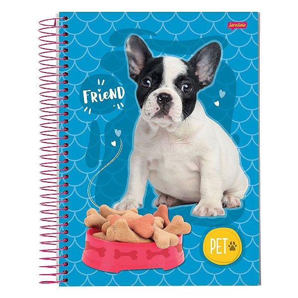 Caderno Pet Cachorro - Azul - 10 Matérias - Jandaia