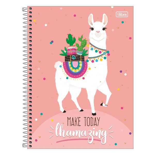 Caderno Hello! - Make Today Lhamazing - 160 Folhas - Tilibra
