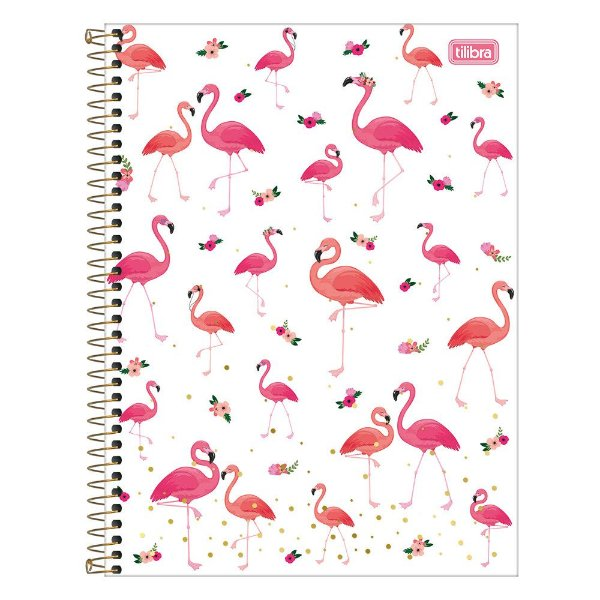 Caderno Aloha - Floral - Flamingos - 160 Folhas - Tilibra