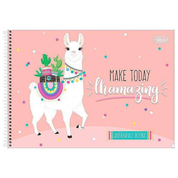 Caderno de Cartografia e Desenho Hello! - Lhama Coral - Tilibra