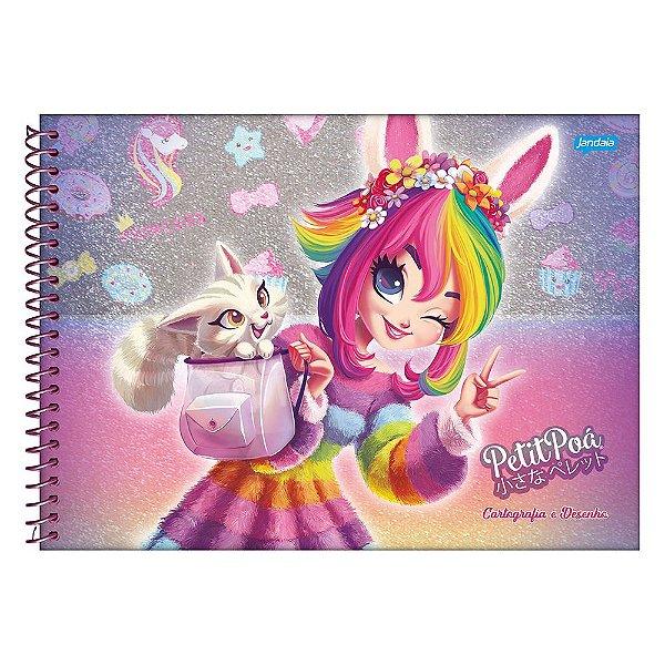 Caderno de Cartografia e Desenho Petit Poá - Menina e Pet - Jandaia