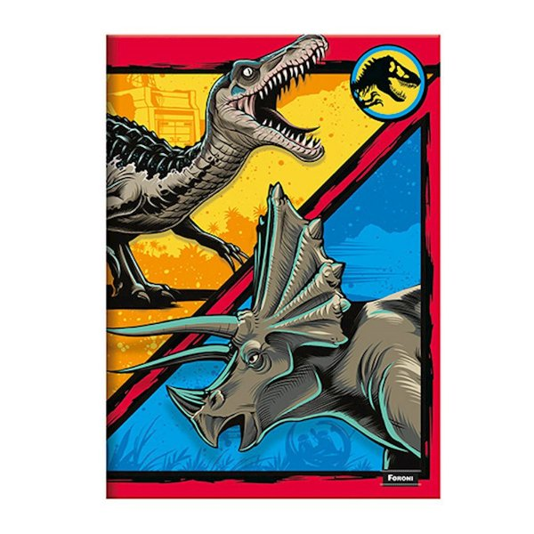 Caderno 1/4 Brochura Jurassic World - Amarelo/Azul - 96 Folhas - Foroni