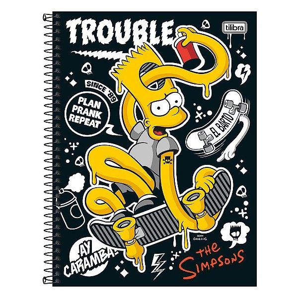 Caderno The Simpsons - Bart de Skate - 1 Matéria - Tilibra