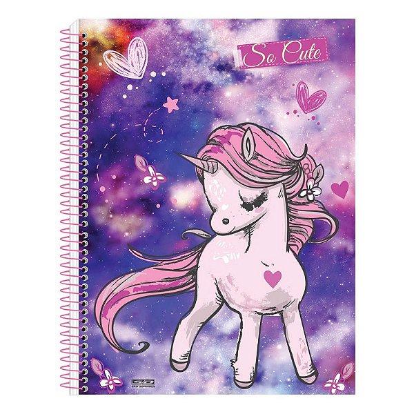 Caderno So Cute - Unicórnio Corações - 10 Matérias - São Domingos