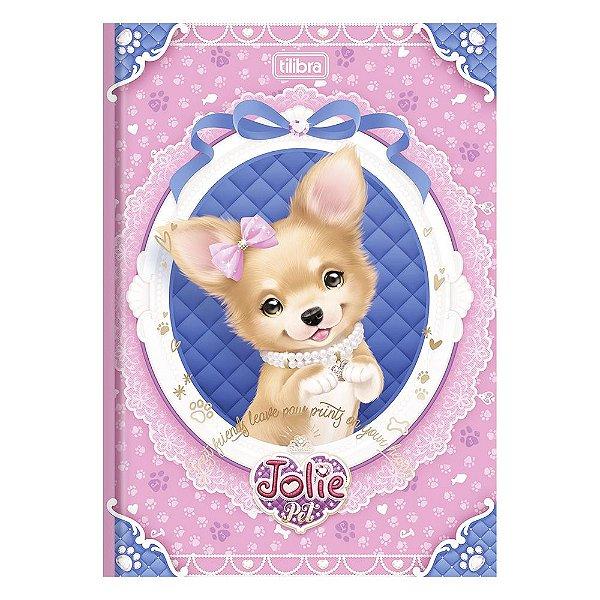 Caderno Brochura Jolie Pet - Cadelinha Com Flor - 96 Folhas - Tilibra