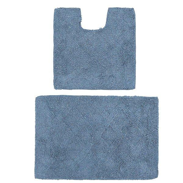 Kit de Tapetes Para Banheiro Murano - 2 Peças - Azul - Rozac