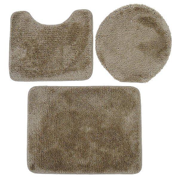 Jogo de Tapetes Para Banheiro Volpi - 3 Peças - Marrom Claro - Jolitex