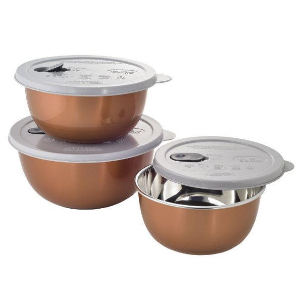Jogo de Potes Para Micro-ondas Bronze - 3 Peças - Mimo Style