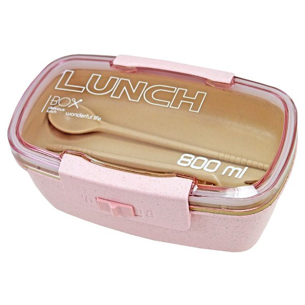 Pote Marmita Lunch Box 800ml Com Divisória - Rosa - Jacki Design