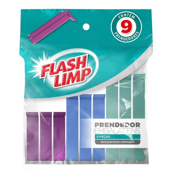 Conjunto de Prendedores Para Embalagem - 9 Peças - Flash Limp