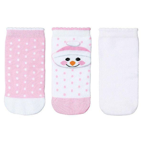 Kit de Meias Baby de 0 à 4 Meses - 3 Pares - Boneco de Neve - Lupo