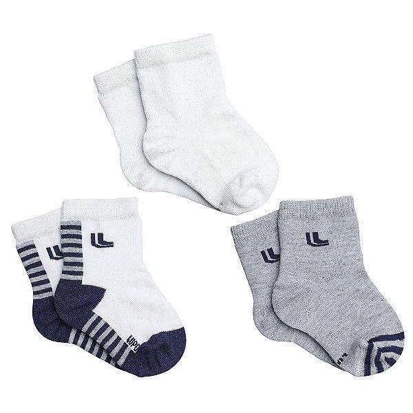 Kit de Meias Baby de 0 à 4 Meses - Cinza/Branco/Azul - 3 Pares - Lupo