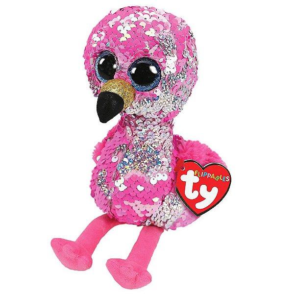 Pelúcia Ty Beanie Boos Paetês M - Flamingo Pinky - DTC