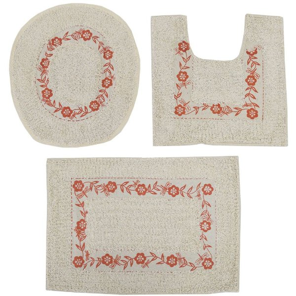 Jogo de Tapetes Para Banheiro - 3 Peças - Bege e Coral - Sultan