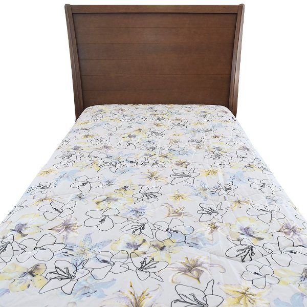 Edredom Dupla Face Com Plush New Confort Solteiro - Floral Spot - Altenburg