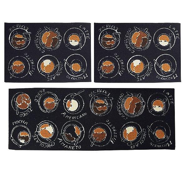 Kit Tapetes Para Cozinha - 3 Peças - Tipos de Cafés - Camesa