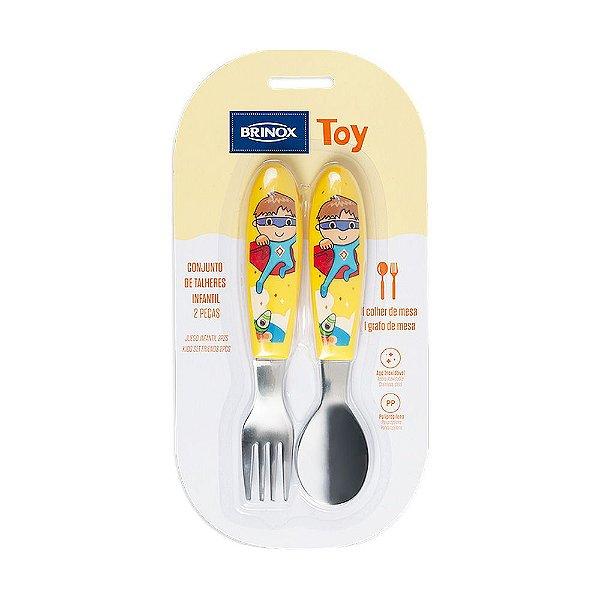 Conjunto de Talheres Infantil Toy Amarelo - 2 Peças - Brinox
