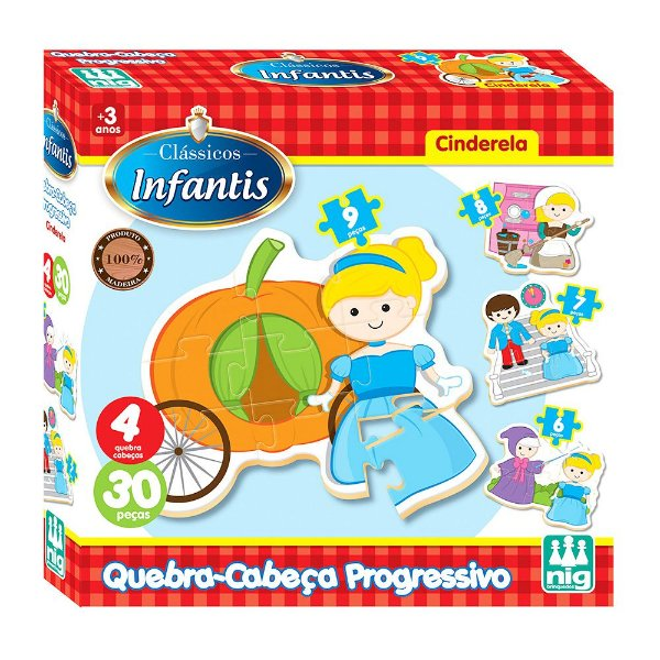 Quebra Cabeça Progressivo Cinderela - 30 peças - Nig Brinquedos
