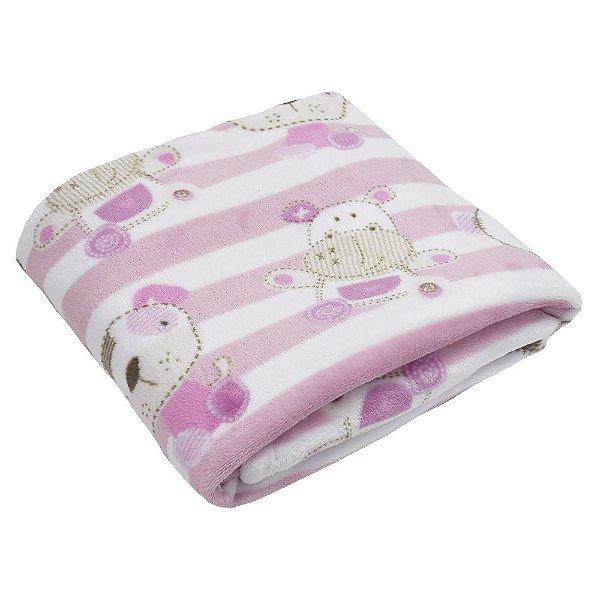 Cobertor Baby Flannel Menina 300g/m² - Listrado - Camesa