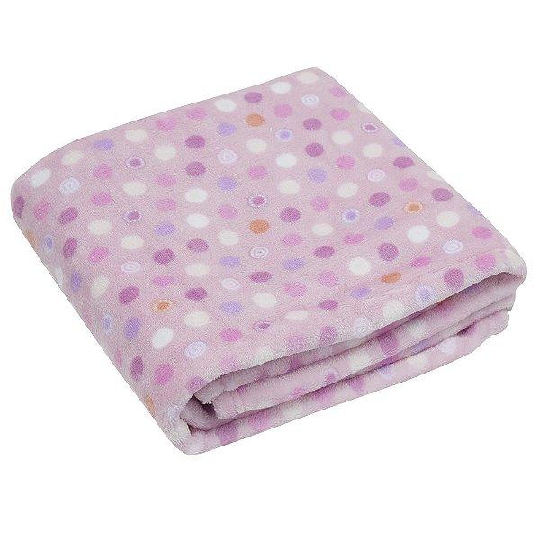 Cobertor Baby Flannel Menina 300g/m² - Bolinhas - Camesa