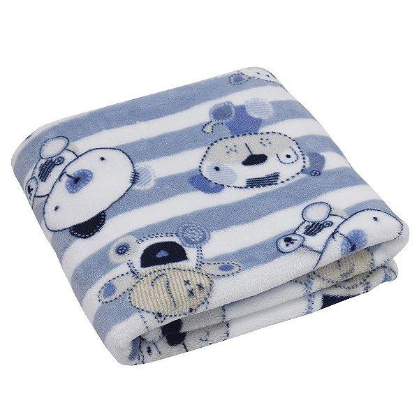 Cobertor Baby Flannel Menino 300g/m² - Listrado - Camesa